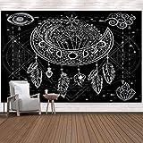 Tapiz de atrapasueños tapiz de mandala en blanco y negro tapiz de plumas de luna psicodélico decoración de la pared del hogar ropa de cama colcha 230 * 180 cm