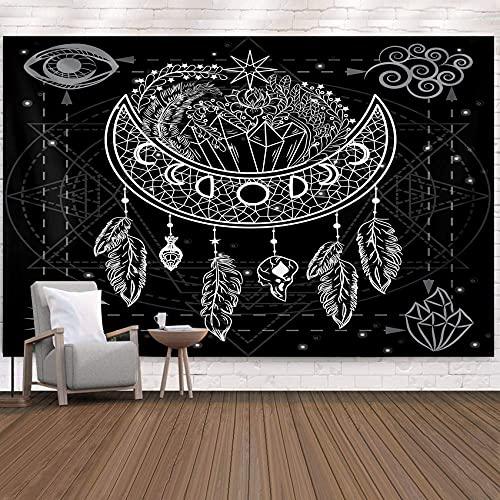 Tapiz de atrapasueños tapiz de mandala en blanco y negro tapiz de plumas de luna psicodélico decoración de la pared del hogar ropa de cama colcha 150x130 cm