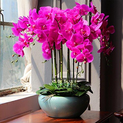 USDFJN Orchidée Papillon PU Faux Decoration Fleurs De Soie Artificielle Vase Rouge Rose