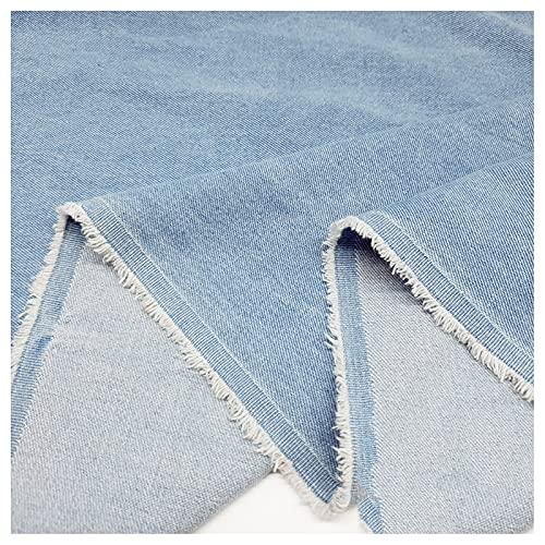 Stretch Stoff Baumwolle Gewaschener Denim Sand Gewaschen Himmelblau Farbe Blau Aus Kleidung Hosen Hemden Röcken DIY-Kleidungsdesignstoff Dicker Mantel 570 G/M (Größe(Size:1.5M*2M,Color:Himmelblau)