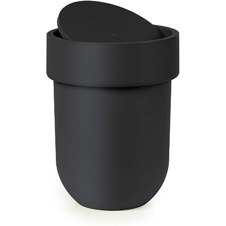 UMBRA Waste Can Touch. Poubelle de salle de bain Touch, couvercle rotatif. Plastique moulé. Coloris noir. 5.9L. Dimension 19.1x26cm