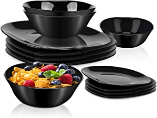 12-Piece Dinnerware Set Black Kitchen Dinner Set Service for 4, Square Glass Plates Bowls Set Crack Resistant