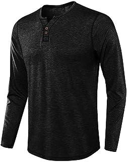 Rebajas Camiseta Hombre Manga Larga Basica Camisetas Algodón Ropa Casual Henley Tops Deportivo Sweatshirt Cómodo Color Sól...