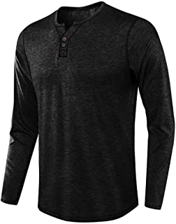 iLOOSKR Fashion Men Autum Winter Long Sleeve Button Down V-Neck Solid Pullover Tops Blouse