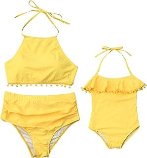 196e9b93bc Mommy and Me Swimsuit Baby Girl Ruffle Halter Tassel One Piece Bikini  Monokini Mom Girl Bathing
