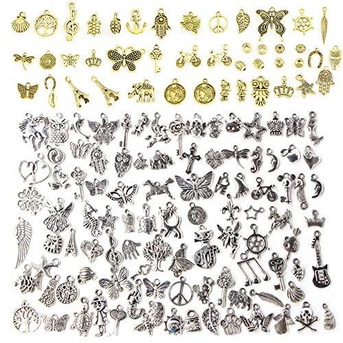 Sweieoni 150 Pezzi Antico Argento DIY Ciondolo, Misti Ciondolo creazione di Gioielli, Ciondolo Vintage per Bracciale Collana Orecchini Portachiavi Gioielli Creazione di Gioielli Accessori