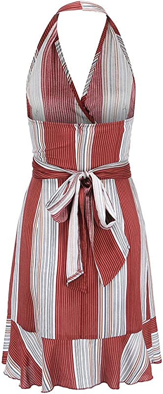 LiLiMeng 2019 New Women Sexy V Neck Strap Stripe Print Off Shoulder Sleeveless Hollow Out Belt Rompers Jumpsuit Playsuit