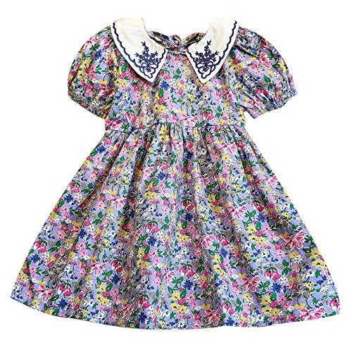 Julhold Conjunto de vestido con volantes para niños y niñas, con estampado de corazón y volantes