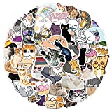 50 Pcs Cat Stickers Cute Cartoon Stickers for Kids Water Bottles, Aesthetic Vinyl Stickers for Laptop Hydroflask Skateboard Computer Graffiti Decals