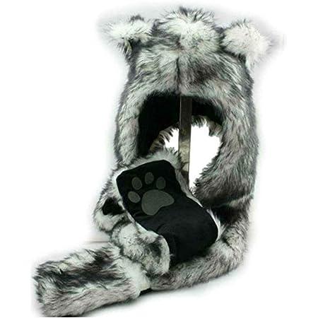 Animal Head Super Soft Plush Childrens Hat Snow Leopard