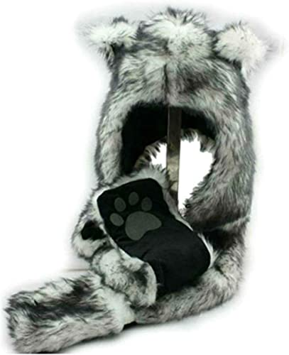 White Wolf Animal Hoods Hat, Mittens, Gloves, Scarf Paws Prints and Ears, Furry Hoodie