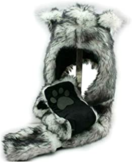 White Wolf Animal Hoods Hat, Mittens, Gloves, Scarf Spirit Paws Prints and Ears, Furry Hoodie