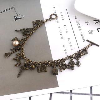 gfjfd School Bracelet For Women The Deathly Hallows Sorting Hat Wand Charm Bracelet