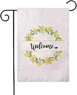 ULOVE LOVE LOVE YOURSELF Welcome Lemon Wreath Garden Flag 12.5 بوصة x 18 بوصة نمط مزدوج الجانب نمط خيش صغير أعلام المنزل ا...