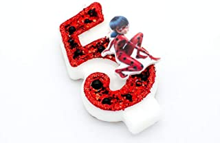 Miraculous Ladybug and Cat Noir Birthday Candle, Number 5 - Girls Birthday Cake Decorations, Cake Toppers - Number Candles, Miraculous Ladybug Birthday Party Decorations