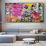 Cuadro en lienzo de Banksy Art Love Is All We Need Lienzo de pared Seguir a su sueño Graffiti Street Art Decoración del hogar 45 x 90 cm