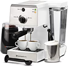 Espresso Machine & Cappuccino Maker with Milk Steamer- 15 Bar Pump, 7 Pc All-In-One Barista Bundle Set w/ Built-in Frother...
