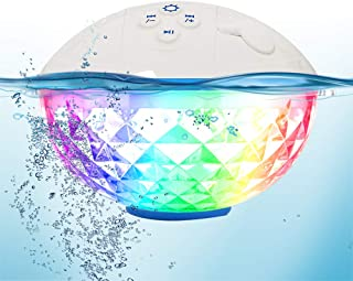 Pool Speaker with Colorful Lights, Portable Bluetooth Speaker IPX7 Waterproof, Floating Pool Speakers with Crystal Clear S...