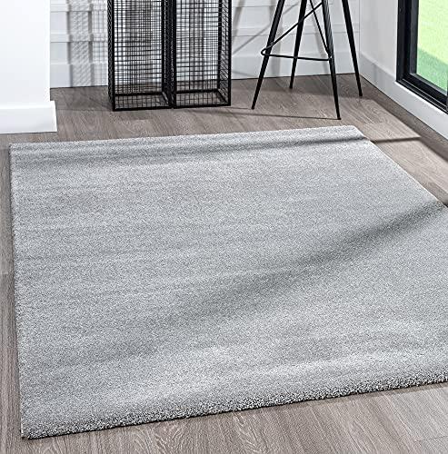 the carpet Alfombra grande moderna de pelo corto, muy suave, efecto mezclado, brillo elegante, gris, 160 x 230 cm