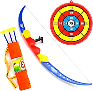 WenToyce Archery Set for Kids, Toddler Action Bow Arrow Kit with Target, Shoulder Strapped Quiver and 3 Suction Cup Arrows, Safe Shooting Hunting Competition Game for Garden Park Fun