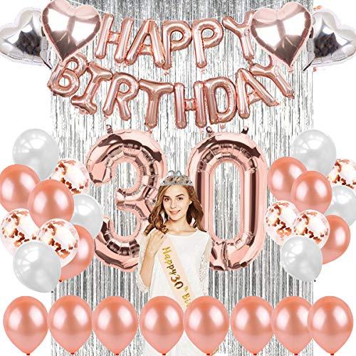 sancuanyi 30 Geburtstag Dekoration Rosegold, 30 Geburtstag Deko, Happy Birthday Ballons Banner, Riesen Zahl Folienballons, 30. Geburtstagsdeko für Mädchen und Jungen