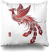 Ahawoso Throw Pillow Cover Oriental Red Bird Phoenix Tattoo Asian Tribal Vintage Ancient Design Decorative Pillowcase Square Size 18