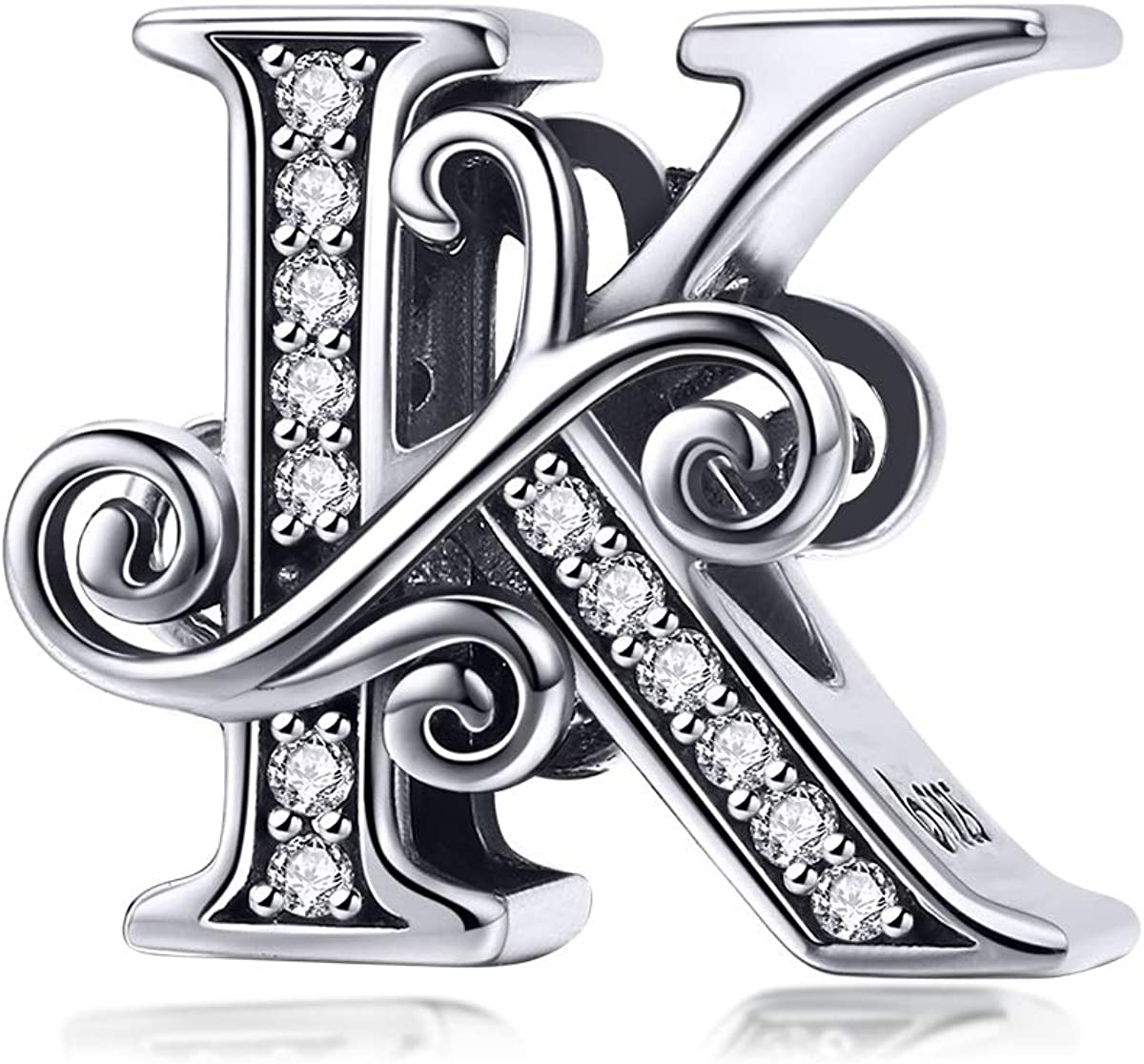 BETTYSARAH 925 Sterling New arrival El Paso Mall Silver Letter for Charms Bracel Pandora