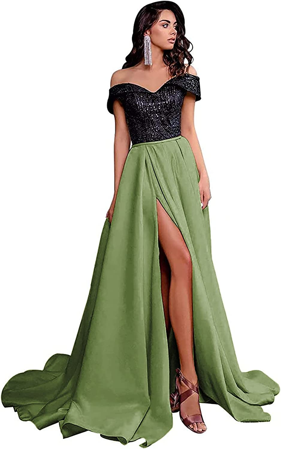 YUSHENGSM Prom Dresses for Women Long A-Line Formal Evening Party Satin Sequined Off The Shoulder Ball Gowns Slit Sexy