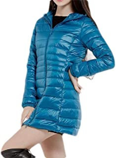 Macondoo Womens Plus Size Packable Puffer Hooded Light Weight Down Coat