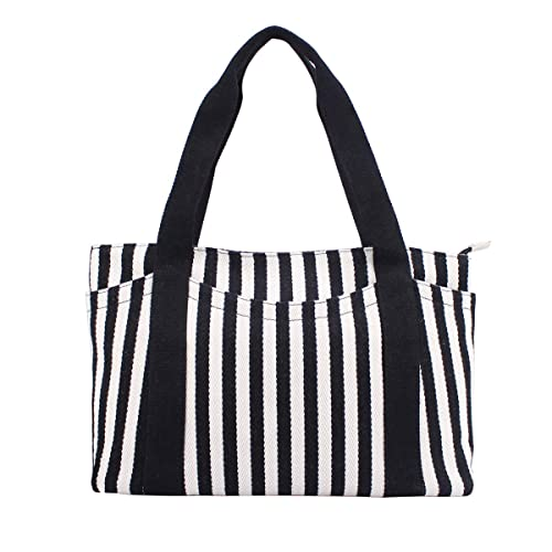 982470c6d Canvas Tote Bag with Multiple Pocket Zipper Closure Sholuder Bag Travel Bag  for Weekend