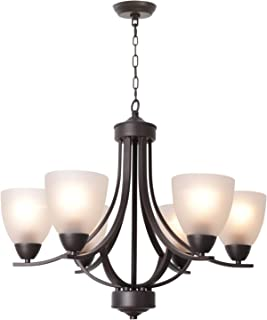 VINLUZ Modern Chandeliers 6 Light Oil Rubbed Bronze Contemporary Pendant Light Rustic Vintage Dining Room Lighting Fixtures Hanging, Flush Mount Ceiling Light for Bedroom Living Room Foyer