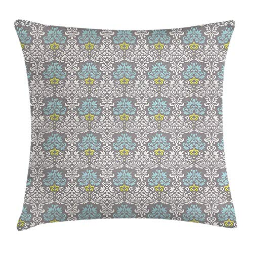 Butlerame Funda de Almohada de Tiro Azul grisáceo, patrón de Damasco Colorido Tradicional con Flores sobre Fondo de Escala de Grises, 18 x 18 Pulgadas, Multicolor