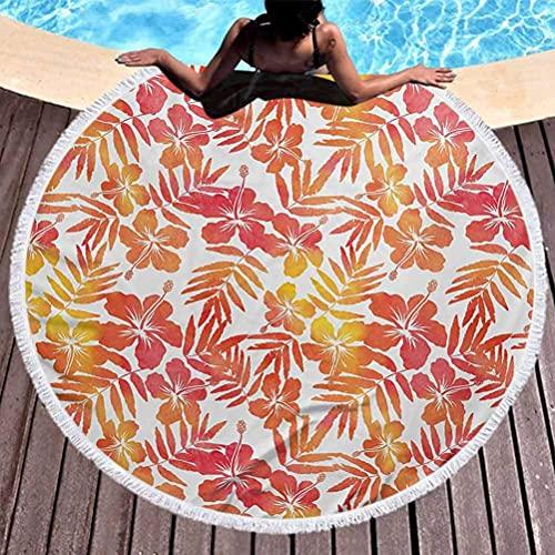 Toalla de playa redonda gruesa de lujo Jungle Toalla de piscina grande Arte de acuarela inspirado en la naturaleza exótica de la isla, flores de hibisco, manta multifunción hawaiana, bermellón y amari