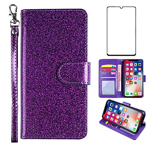 Asuwish Compatible with Samsung Galaxy S6 Edge Plus Case Tempered Glass Screen Protector Cover and Card Holder Slot Kickstand Glitter Wallet Phone Cases for Glaxay S6edge + S 6edge 6s 6 Edge+ Purple