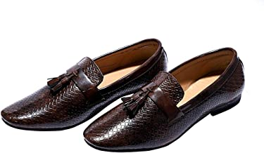 Hush Berry Tassel Formal Synthetic Leather Flat Slip on Shoes for Men and Boys (Black.