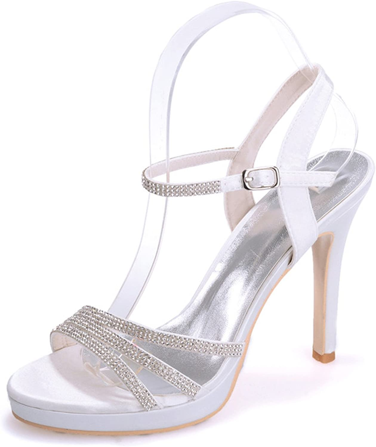 Fanciest Women's Bridal Wedding Party Evening Sandals Beaded Open-Toe High Heel Pump shoes 5915-16