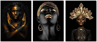 Abstract Poster Printed Golden Fashion Black Woman Portrait Wall Art Canvas Print Frame Picture Painting for Room Home Decorations 12x16inch 3PCS