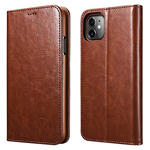 ICARER iPhone 11 Ledertasche Hülle, Wallet Ledertasche Tasche Handytasche Leder mit Standfunktion und Karte Halter und Bargeld Platz Tasche für Apple iPhone 11 6.1 Zoll (Braun)