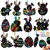 Wishstar Scratch Art Pasqua,Fogli di Disegni Scratch Art 36 PCS,Giochi Creativi Bambini,Pasqua della Decorazione Dell'uovo della Carota del Coniglio