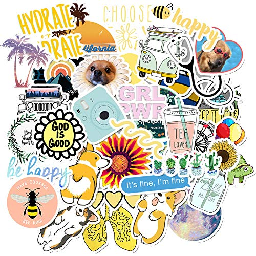 50pcs Vinyl Aesthetic Stickers for Water Bottles Laptop, Cute VSCO Hydroflask Stickers for Skateboard Notebooks Journals Luggage, Great Gift for Teen Girls (Multi-50pcs)
