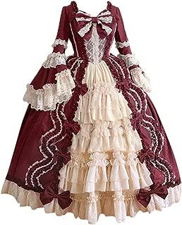 Women's Medieval Renaissance Retro Gown Cosplay Costume Dress Retro Gothic Court Stitching Vintage Dress