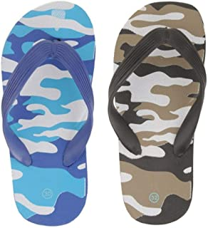 Yellow Bee Camouflage Slippers for Boys - 2 Pairs, Blue and Black