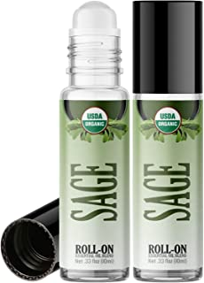 Organic Sage Roll On Essential Oil Rollerball (2 Pack - USDA Certified Organic) Pre-diluted with Glass Roller Ball for Aro...