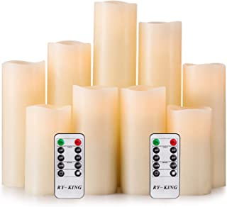 RY King Battery Operated Flameless Candle Set of 9 Real Wax Pillar Decorative Led Fake Candles...