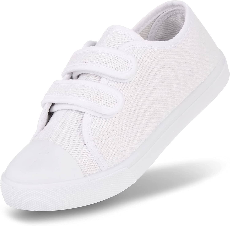 JOSINY Toddler Boys Girls Shoes Kids Canvas Sneakers Dual Adjustable Strap Hook and Loops Walking Slip On