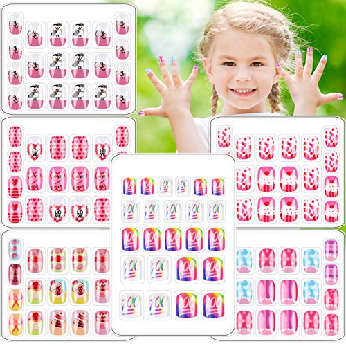 6 Boxes 124 PCS Children Press On Nails Cute Fake Nail for Kids Pre Glue Short Full Cover Rainbow Gradient artificial False Nail Kit for Little Girls Decoration Manicure Christmas (Cake Set)