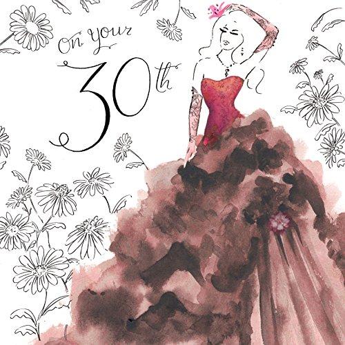 Twizler Geburtstagskarte, für Damen, zum 30. Geburtstag, mit Swarovski-Kristallen besetzt, silberfoliert, Aquarell-Effekt, Motiv Cocktailkleid