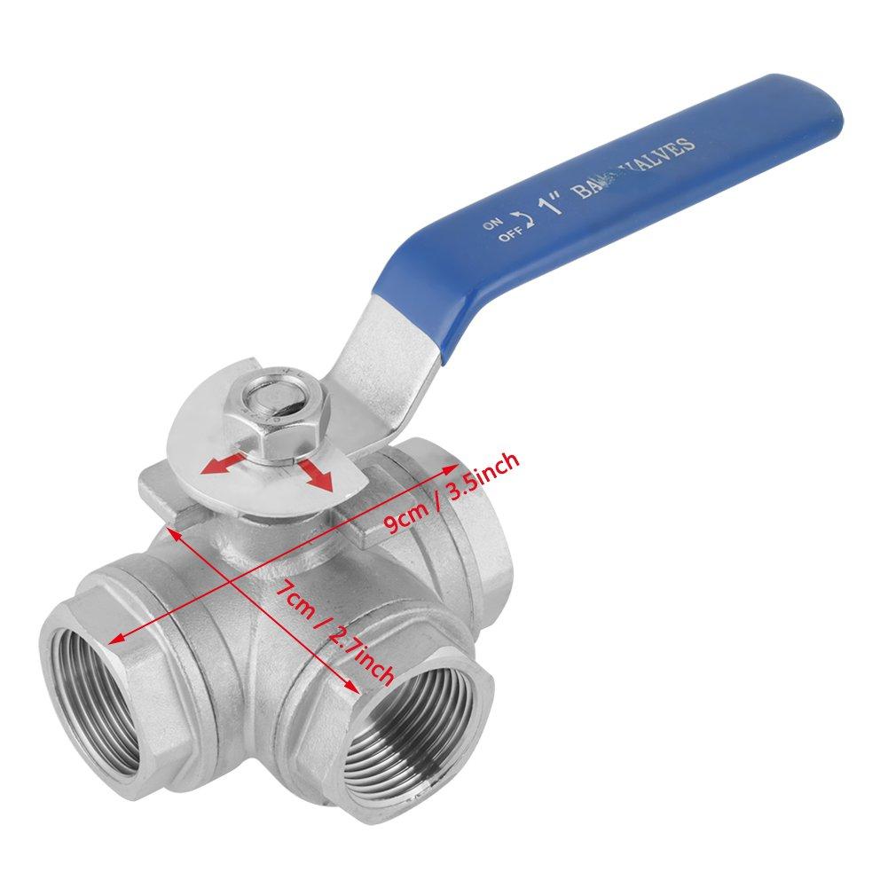 con orificio en T v/álvula de bola para uso en piscinas como grifo de agua o distribuidor. V/álvula distribuidora de agua 1 V/álvula de esfera de tres v/ías fabricada en acero inoxidable