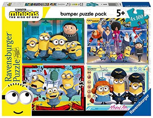 Ravensburger Puzzle Minions, Puzzle 4 x 100 Pezzi, Bumper Pack, Età Consigliata 5+, Puzzle per Bambini, Stampa di Alta Qualità, 05066 6