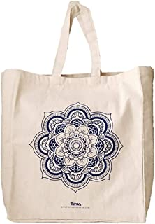 Arka Home Products Cotton Flower Printed Reusable Off White Canvas Bag
